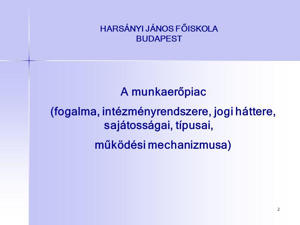 2 HARSÁNYI JÁNOS FŐISKOLA BUDAPEST A munkaerőpiac (fogalma, intézményrendszere, jogi háttere, sajátosságai, típusai, működési mechanizmusa)
