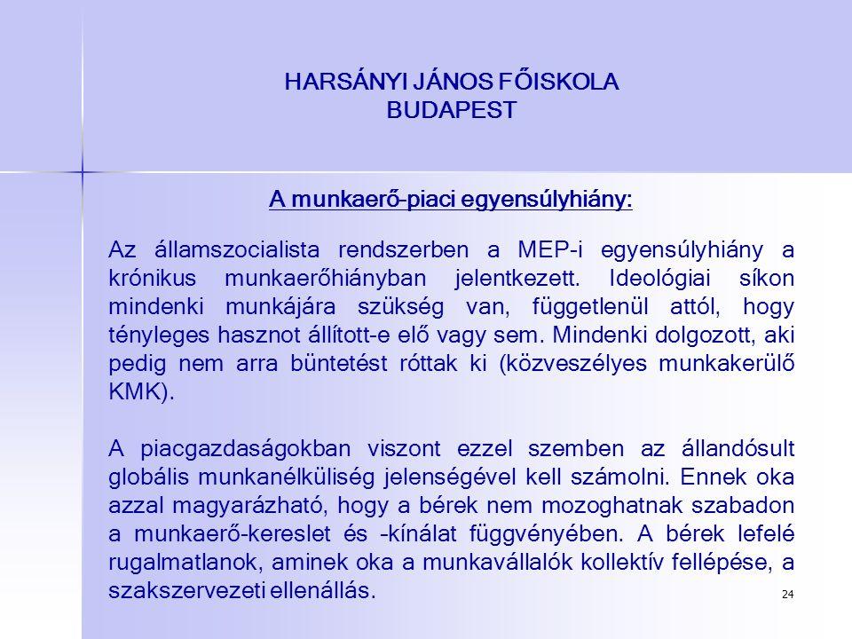 24 HARSÁNYI JÁNOS FŐISKOLA BUDAPEST A munkaerő-piaci egyensúlyhiány: Az államszocialista rendszerben a MEP-i egyensúlyhiány a krónikus munkaerőhiányba