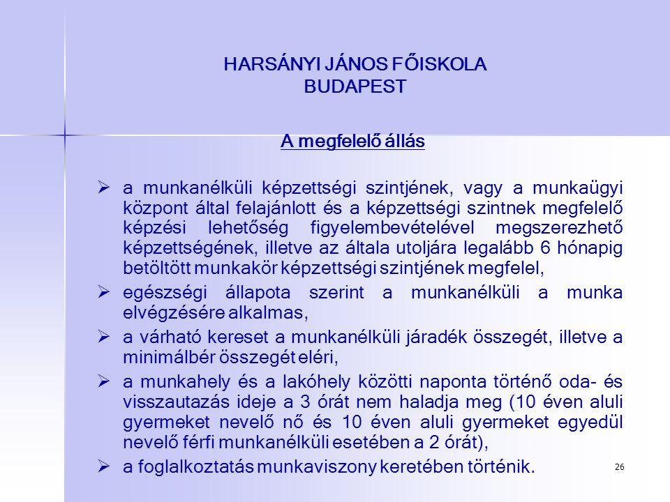 26 HARSÁNYI JÁNOS FŐISKOLA BUDAPEST A megfelelő állás   a munkanélküli képzettségi szintjének, vagy a munkaügyi központ által felajánlott és a képze