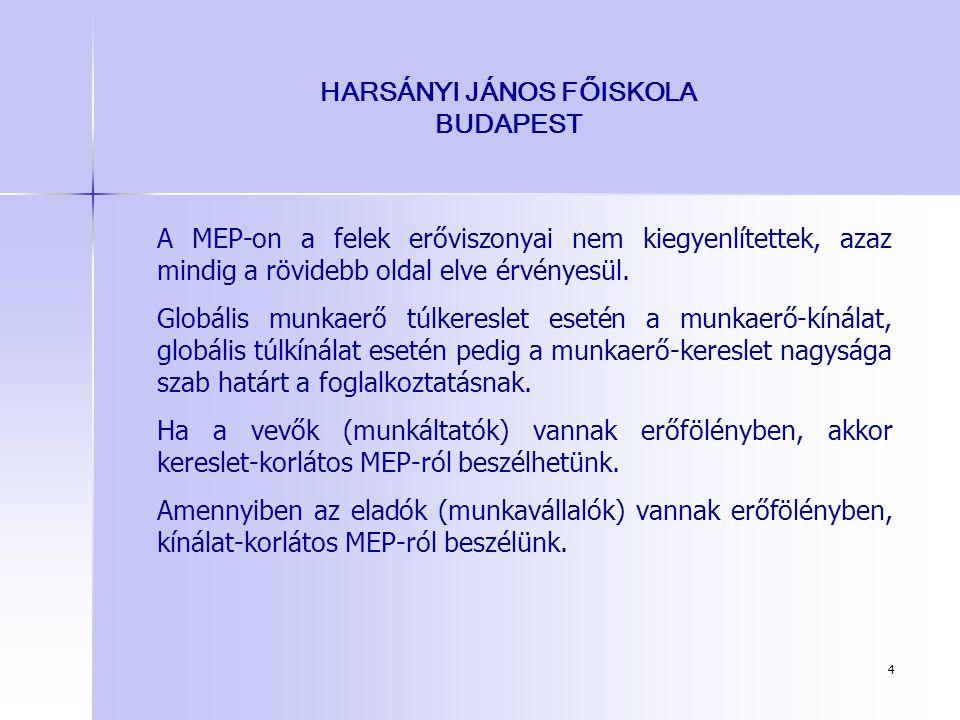 4 HARSÁNYI JÁNOS FŐISKOLA BUDAPEST A MEP-on a felek erőviszonyai nem kiegyenlítettek, azaz mindig a rövidebb oldal elve érvényesül. Globális munkaerő