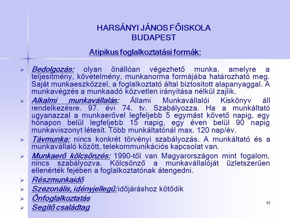 42 HARSÁNYI JÁNOS FŐISKOLA BUDAPEST Atipikus foglalkoztatási formák:   Bedolgozás: olyan önállóan végezhető munka, amelyre a teljesítmény, követelmé