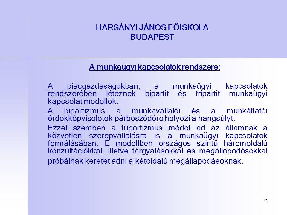 45 HARSÁNYI JÁNOS FŐISKOLA BUDAPEST A munkaügyi kapcsolatok rendszere: A piacgazdaságokban, a munkaügyi kapcsolatok rendszerében léteznek bipartit és