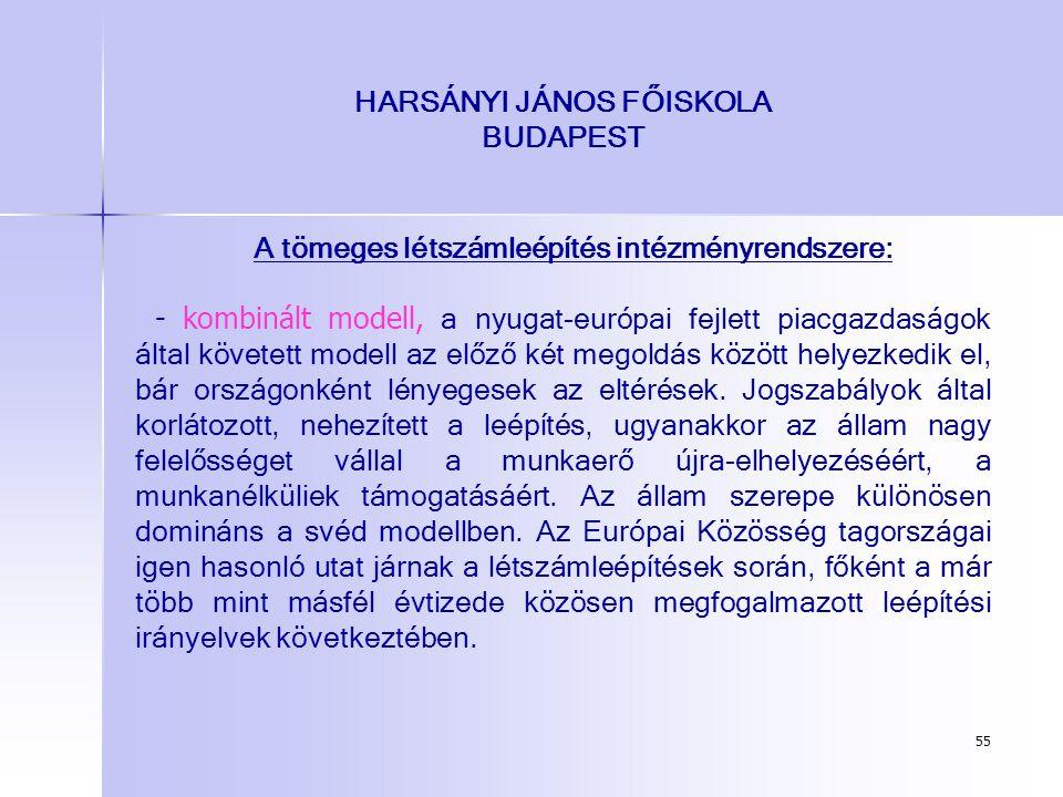 55 HARSÁNYI JÁNOS FŐISKOLA BUDAPEST A tömeges létszámleépítés intézményrendszere: - kombinált modell, a nyugat-európai fejlett piacgazdaságok által kö
