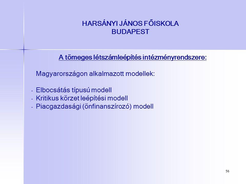 56 HARSÁNYI JÁNOS FŐISKOLA BUDAPEST A tömeges létszámleépítés intézményrendszere: Magyarországon alkalmazott modellek: - - Elbocsátás típusú modell -