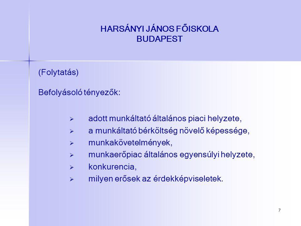 7 HARSÁNYI JÁNOS FŐISKOLA BUDAPEST (Folytatás) Befolyásoló tényezők:   adott munkáltató általános piaci helyzete,   a munkáltató bérköltség növelő