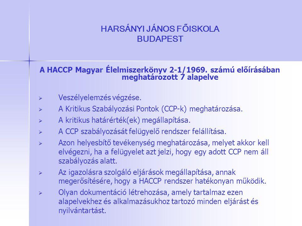 HARSÁNYI JÁNOS FŐISKOLA BUDAPEST A HACCP Magyar Élelmiszerkönyv 2-1/1969. számú előírásában meghatározott 7 alapelve   Veszélyelemzés végzése.   A