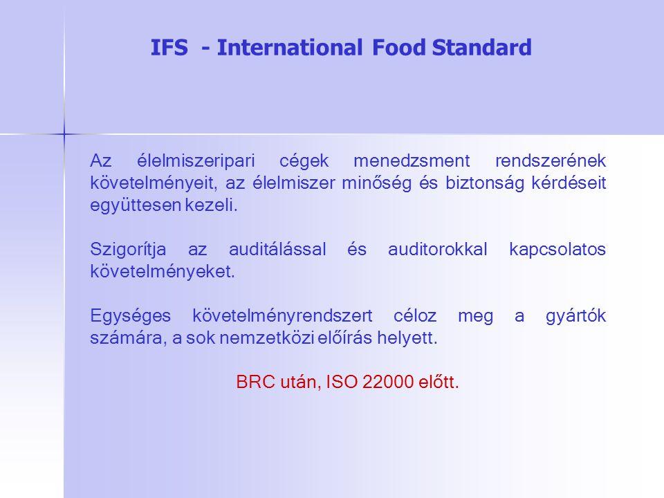 Az élelmiszeripari cégek menedzsment rendszerének követelményeit, az élelmiszer minőség és biztonság kérdéseit együttesen kezeli. Szigorítja az auditá