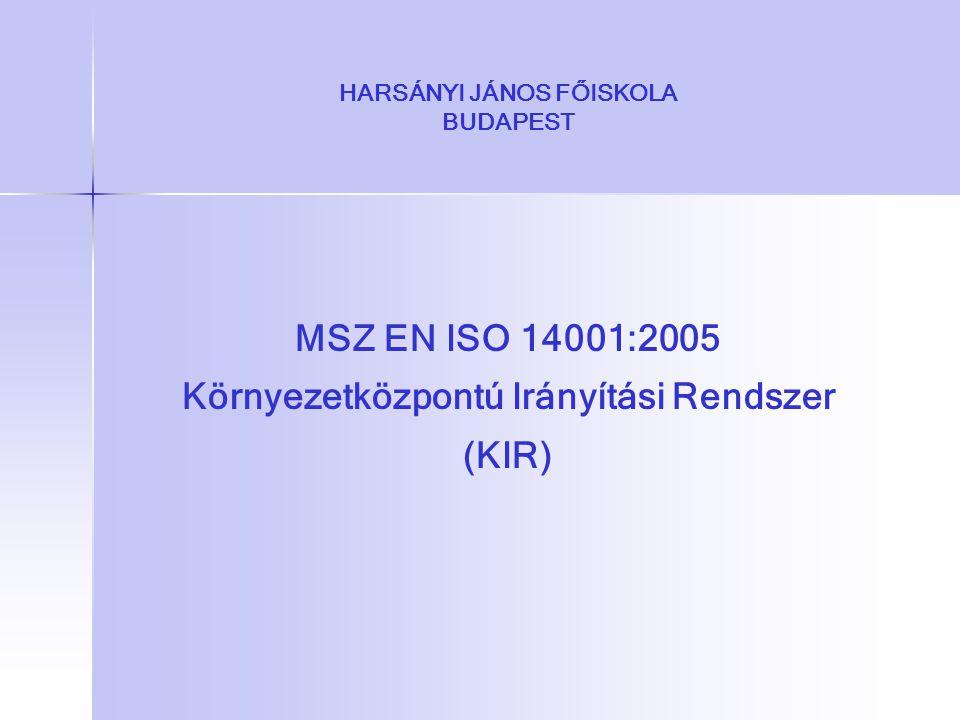 HARSÁNYI JÁNOS FŐISKOLA BUDAPEST MSZ EN ISO 14001:2005 Környezetközpontú Irányítási Rendszer (KIR)