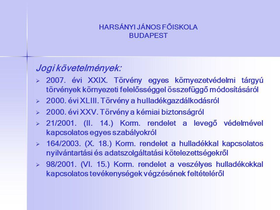 Jogi követelmények:   2007. évi XXIX. Törvény egyes környezetvédelmi tárgyú törvények környezeti felelősséggel összefüggő módosításáról   2000. év