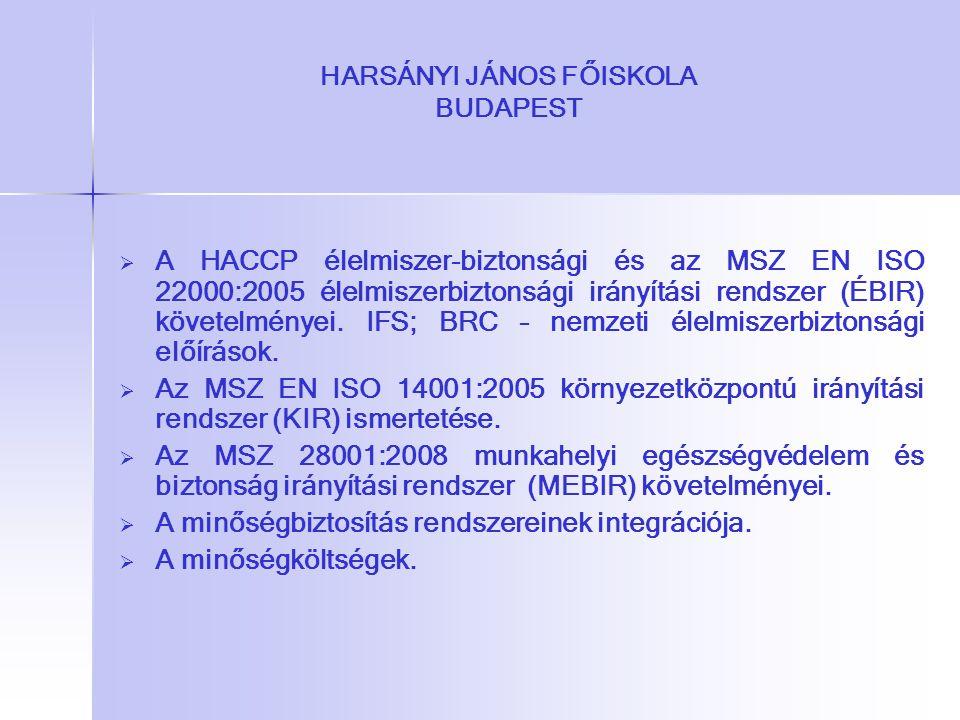 HARSÁNYI JÁNOS FŐISKOLA BUDAPEST   A HACCP élelmiszer-biztonsági és az MSZ EN ISO 22000:2005 élelmiszerbiztonsági irányítási rendszer (ÉBIR) követel