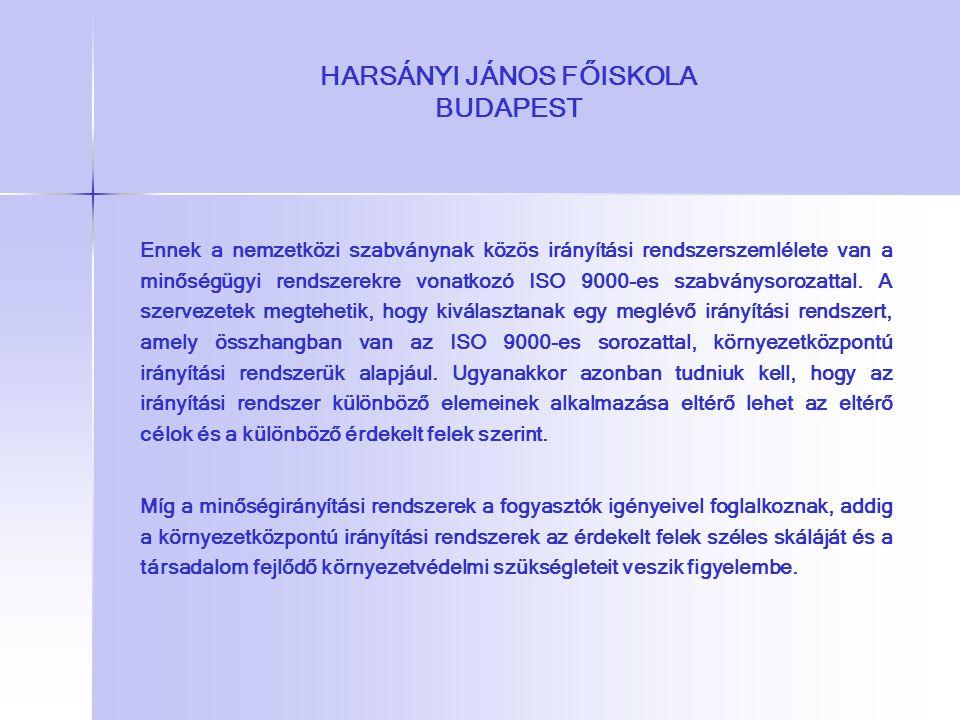 HARSÁNYI JÁNOS FŐISKOLA BUDAPEST Ennek a nemzetközi szabványnak közös irányítási rendszerszemlélete van a minőségügyi rendszerekre vonatkozó ISO 9000-
