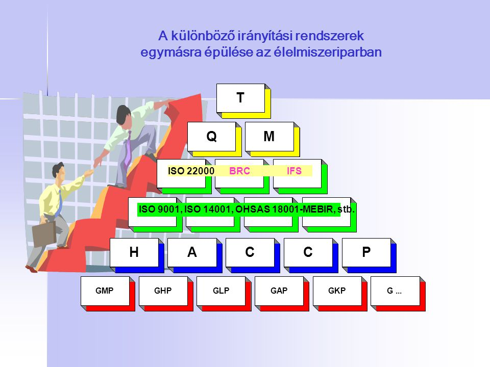 A különböző irányítási rendszerek egymásra épülése az élelmiszeriparban GMPGHPGLPGAPGKPG... HACCP QM T ISO 9001, ISO 14001, OHSAS 18001-MEBIR, stb. IS