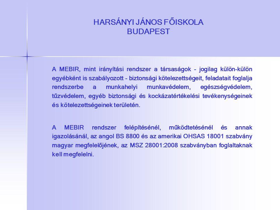 HARSÁNYI JÁNOS FŐISKOLA BUDAPEST A MEBIR, mint irányítási rendszer a társaságok - jogilag külön-külön egyébként is szabályozott - biztonsági kötelezet