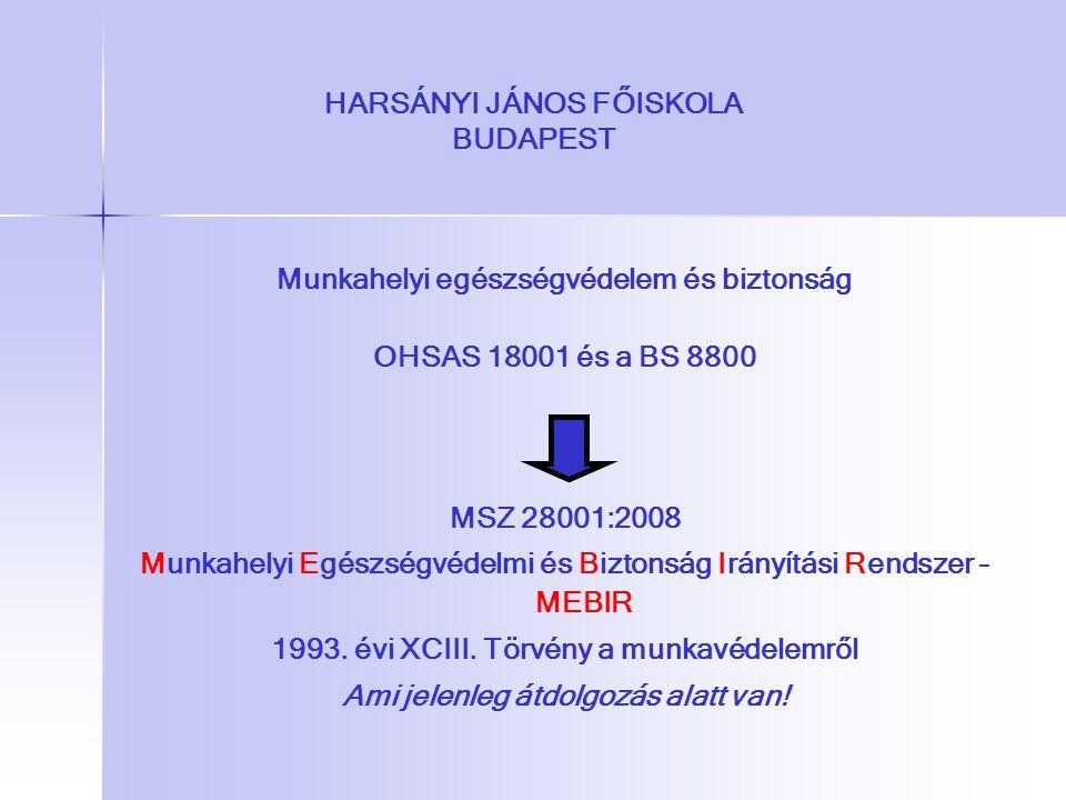 HARSÁNYI JÁNOS FŐISKOLA BUDAPEST Munkahelyi egészségvédelem és biztonság OHSAS 18001 és a BS 8800 MSZ 28001:2008 Munkahelyi Egészségvédelmi és Biztons