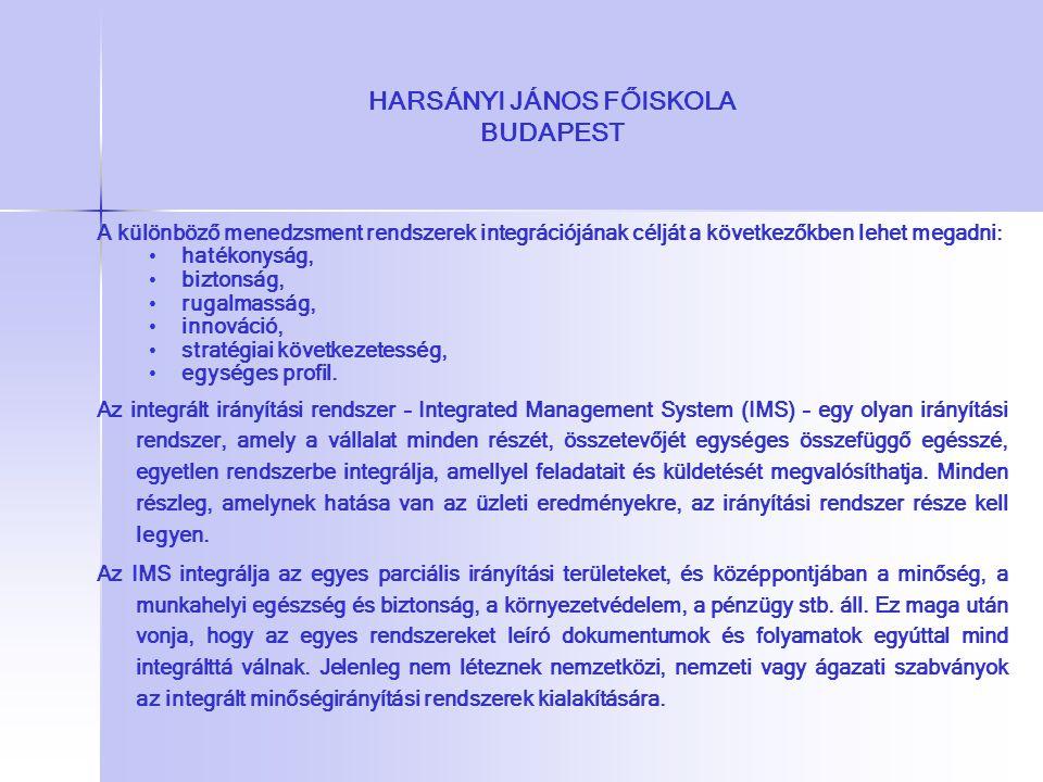 A különböző menedzsment rendszerek integrációjának célját a következőkben lehet megadni: hatékonyság, biztonság, rugalmasság, innováció, stratégiai kö