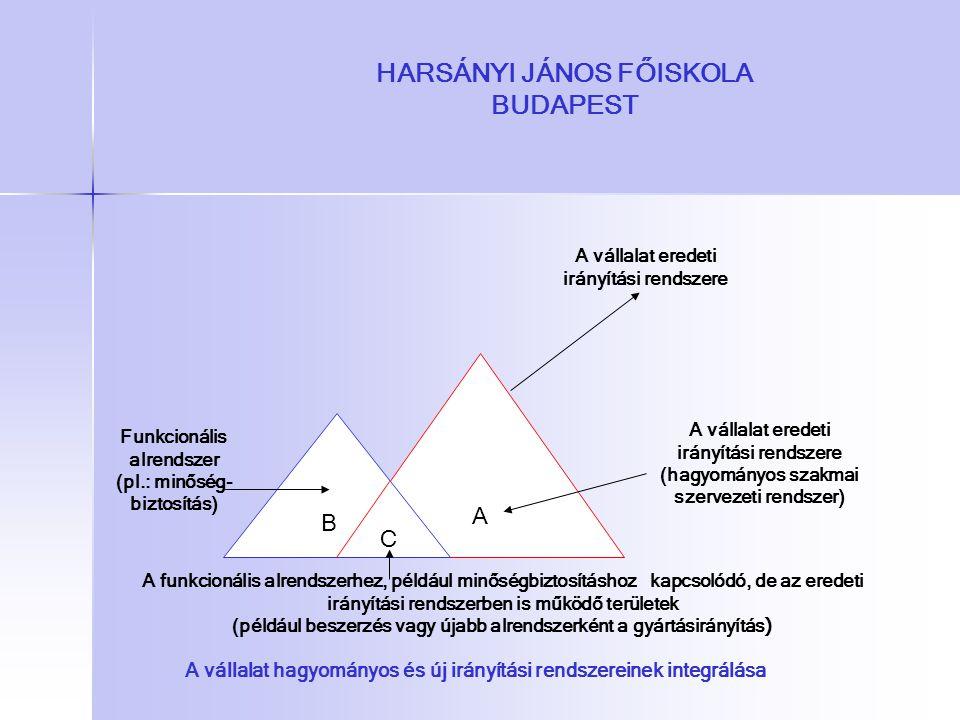HARSÁNYI JÁNOS FŐISKOLA BUDAPEST A vállalat eredeti irányítási rendszere A vállalat eredeti irányítási rendszere (hagyományos szakmai szervezeti rends