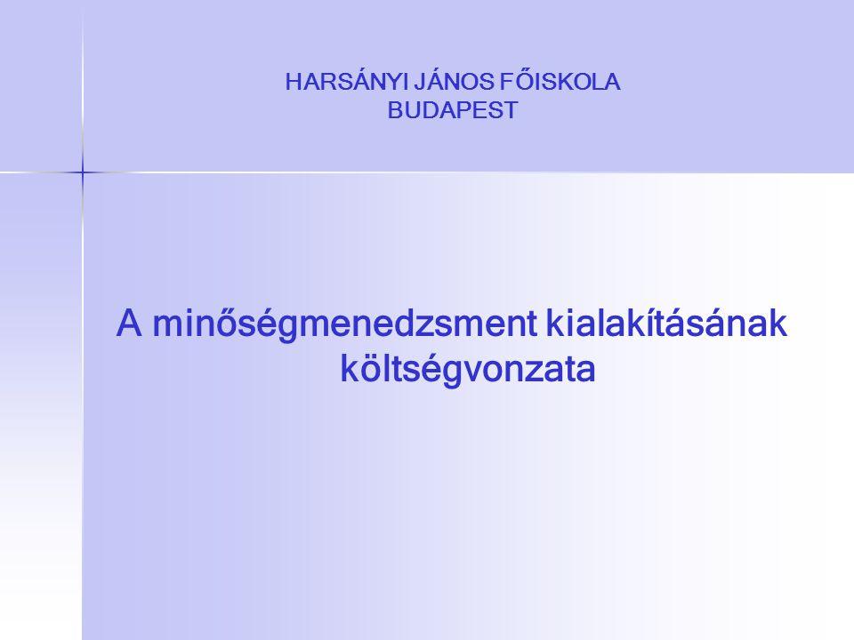 HARSÁNYI JÁNOS FŐISKOLA BUDAPEST A minőségmenedzsment kialakításának költségvonzata