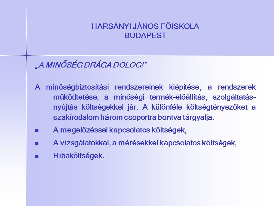 """HARSÁNYI JÁNOS FŐISKOLA BUDAPEST """"A MINŐSÉG DRÁGA DOLOG!"""" A minőségbiztosítási rendszereinek kiépítése, a rendszerek működtetése, a minőségi termék-el"""
