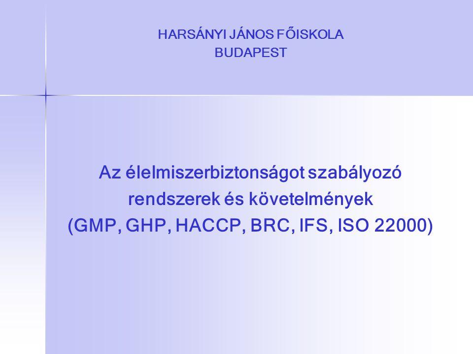 HARSÁNYI JÁNOS FŐISKOLA BUDAPEST Az élelmiszerbiztonságot szabályozó rendszerek és követelmények (GMP, GHP, HACCP, BRC, IFS, ISO 22000)