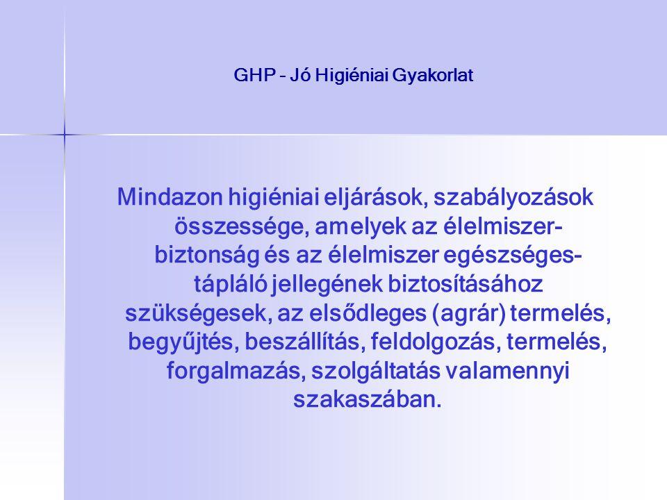 GHP - Jó Higiéniai Gyakorlat Mindazon higiéniai eljárások, szabályozások összessége, amelyek az élelmiszer- biztonság és az élelmiszer egészséges- táp