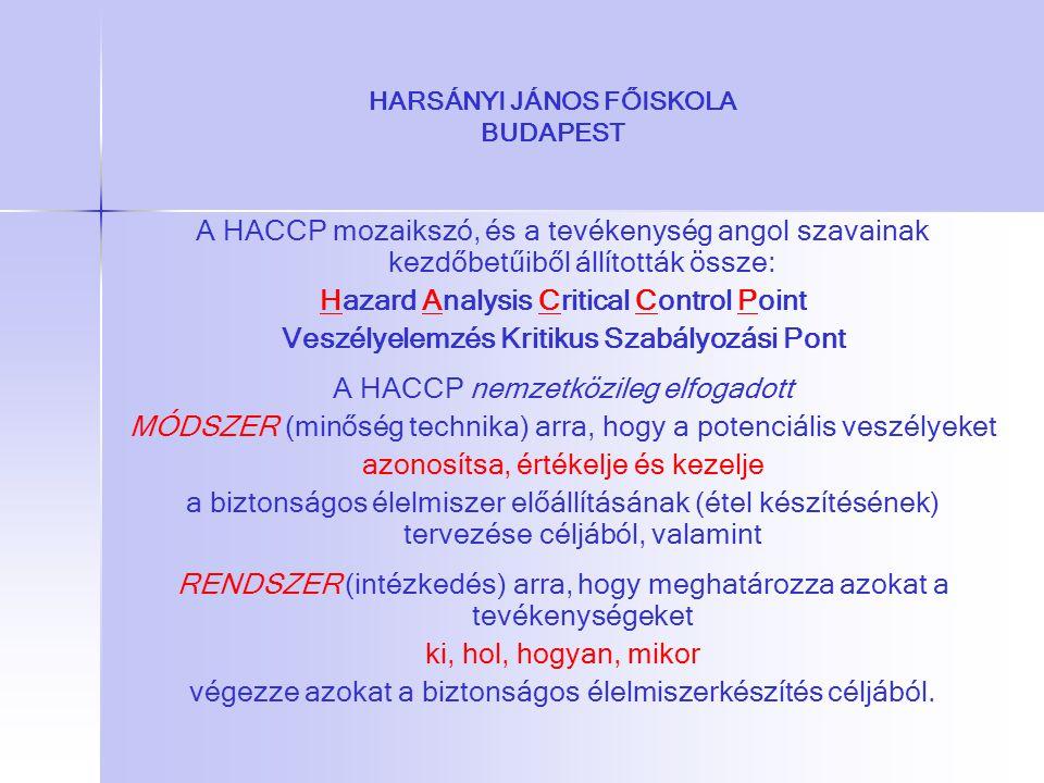 HARSÁNYI JÁNOS FŐISKOLA BUDAPEST A HACCP mozaikszó, és a tevékenység angol szavainak kezdőbetűiből állították össze: Hazard Analysis Critical Control