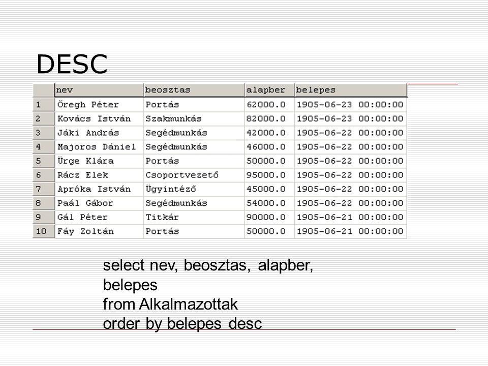 DESC select nev, beosztas, alapber, belepes from Alkalmazottak order by belepes desc