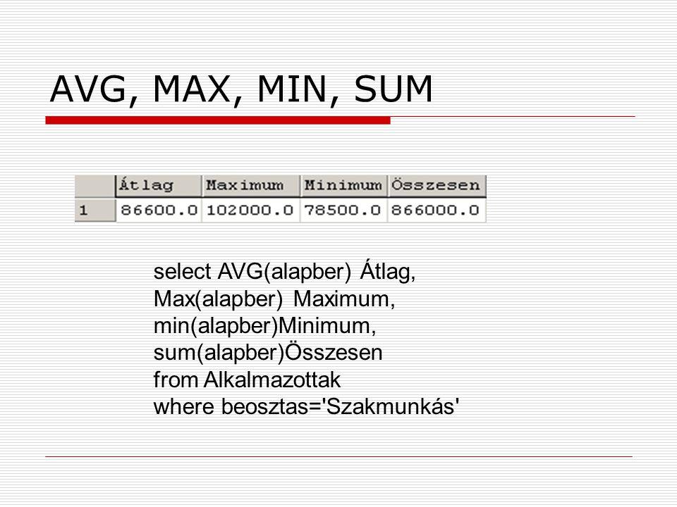 AVG, MAX, MIN, SUM select AVG(alapber) Átlag, Max(alapber) Maximum, min(alapber)Minimum, sum(alapber)Összesen from Alkalmazottak where beosztas='Szakm