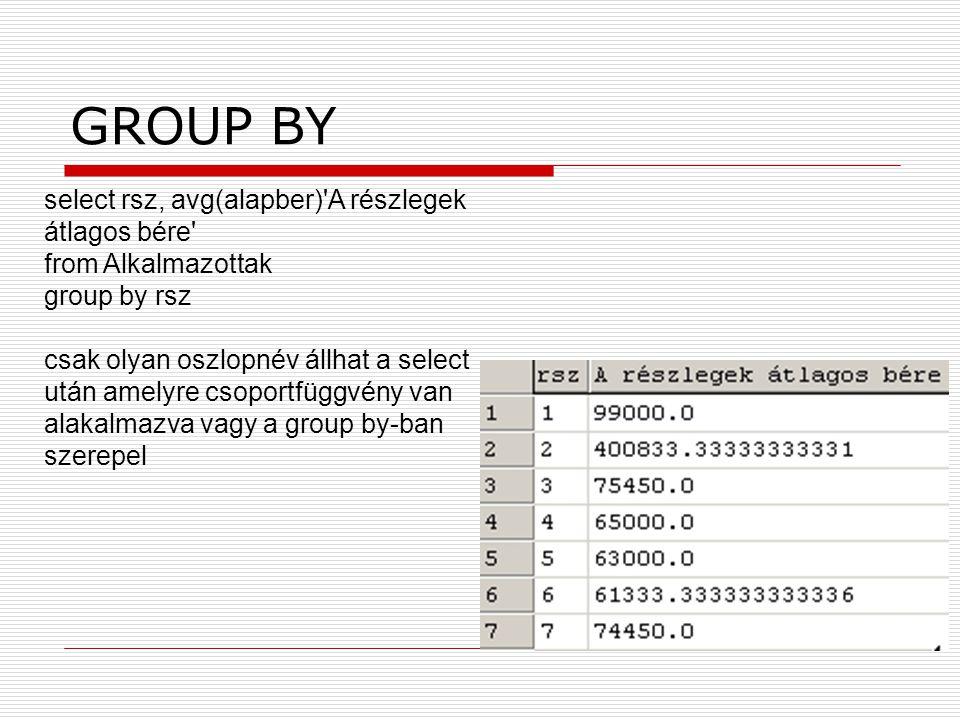 GROUP BY select rsz, avg(alapber)'A részlegek átlagos bére' from Alkalmazottak group by rsz csak olyan oszlopnév állhat a select után amelyre csoportf
