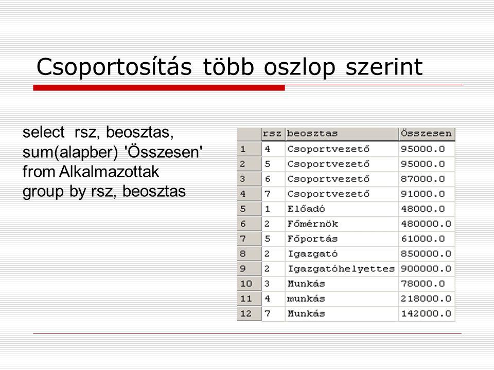 Csoportosítás több oszlop szerint select rsz, beosztas, sum(alapber) 'Összesen' from Alkalmazottak group by rsz, beosztas