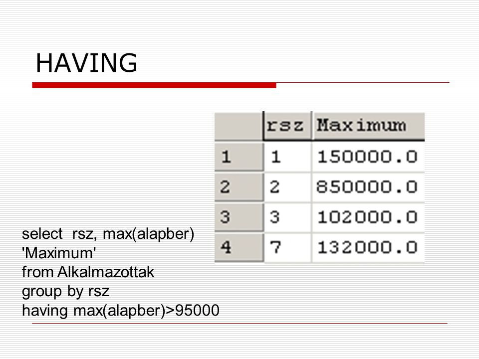 HAVING select rsz, max(alapber) Maximum from Alkalmazottak group by rsz having max(alapber)>95000