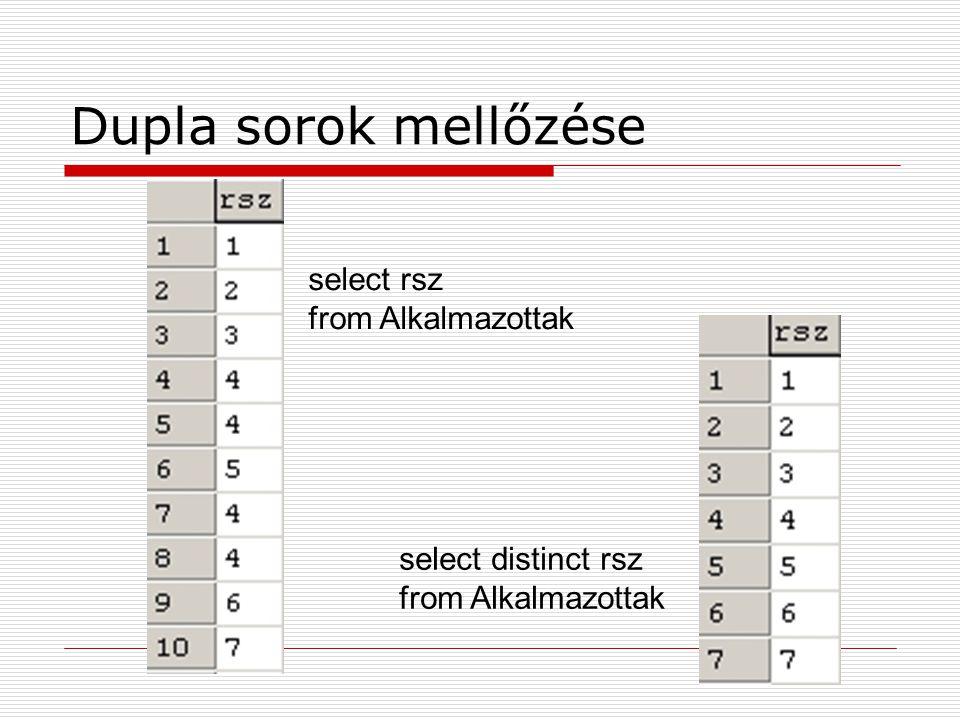 Dupla sorok mellőzése select rsz from Alkalmazottak select distinct rsz from Alkalmazottak