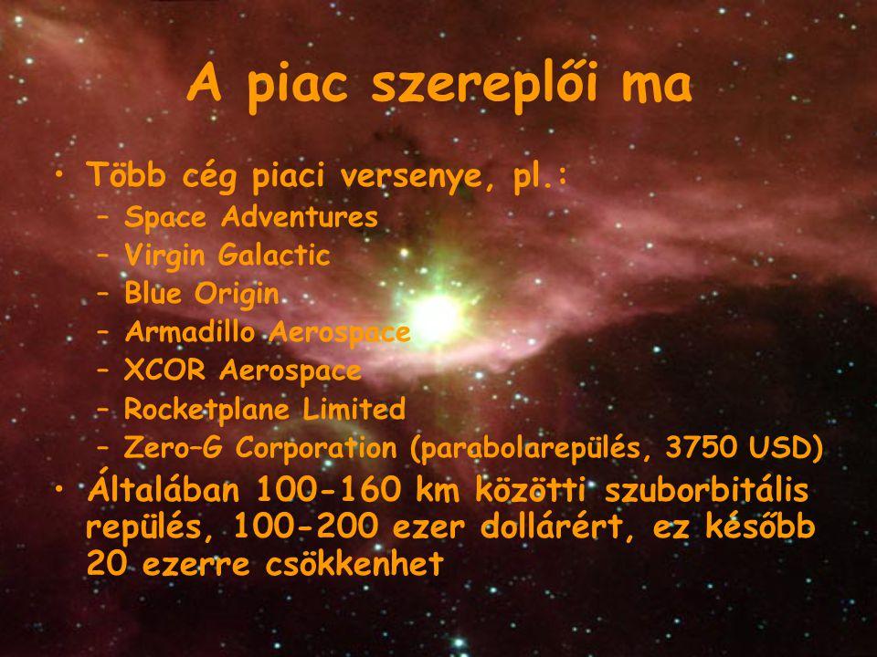 A piac szereplői ma Több cég piaci versenye, pl.: –Space Adventures –Virgin Galactic –Blue Origin –Armadillo Aerospace –XCOR Aerospace –Rocketplane Li