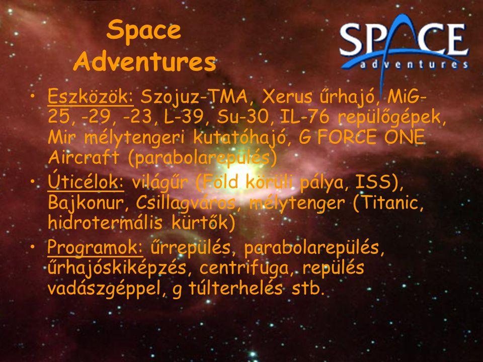 Space Adventures Eszközök: Szojuz-TMA, Xerus űrhajó, MiG- 25, -29, -23, L-39, Su-30, IL-76 repülőgépek, Mir mélytengeri kutatóhajó, G FORCE ONE Aircra
