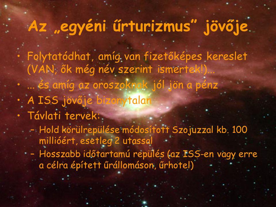 """Az """"egyéni űrturizmus"""" jövője Folytatódhat, amíg van fizetőképes kereslet (VAN, ők még név szerint ismertek!)...... és amíg az oroszoknak jól jön a pé"""