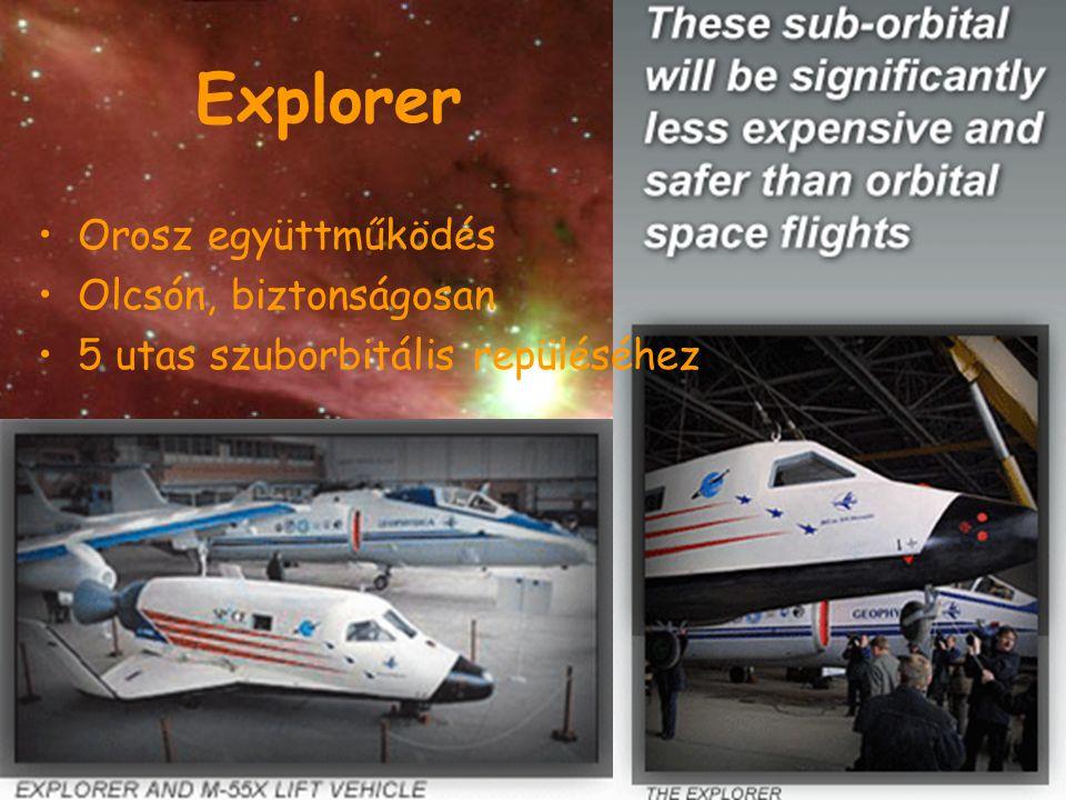 Explorer Orosz együttműködés Olcsón, biztonságosan 5 utas szuborbitális repüléséhez