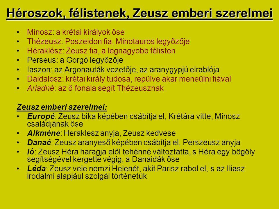 Héroszok, félistenek, Zeusz emberi szerelmei Minosz: a krétai királyok őse Thézeusz: Poszeidon fia, Minotauros legyőzője Héraklész: Zeusz fia, a legna