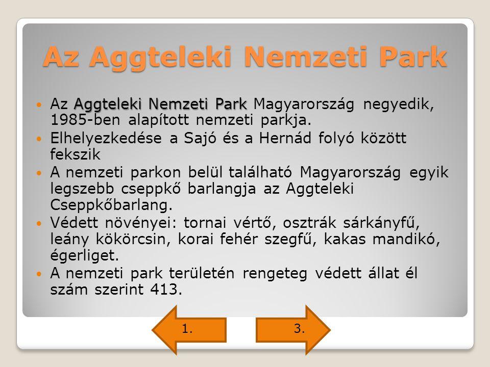 Az Aggteleki Nemzeti Park Aggteleki Nemzeti Park Az Aggteleki Nemzeti Park Magyarország negyedik, 1985-ben alapított nemzeti parkja. Elhelyezkedése a