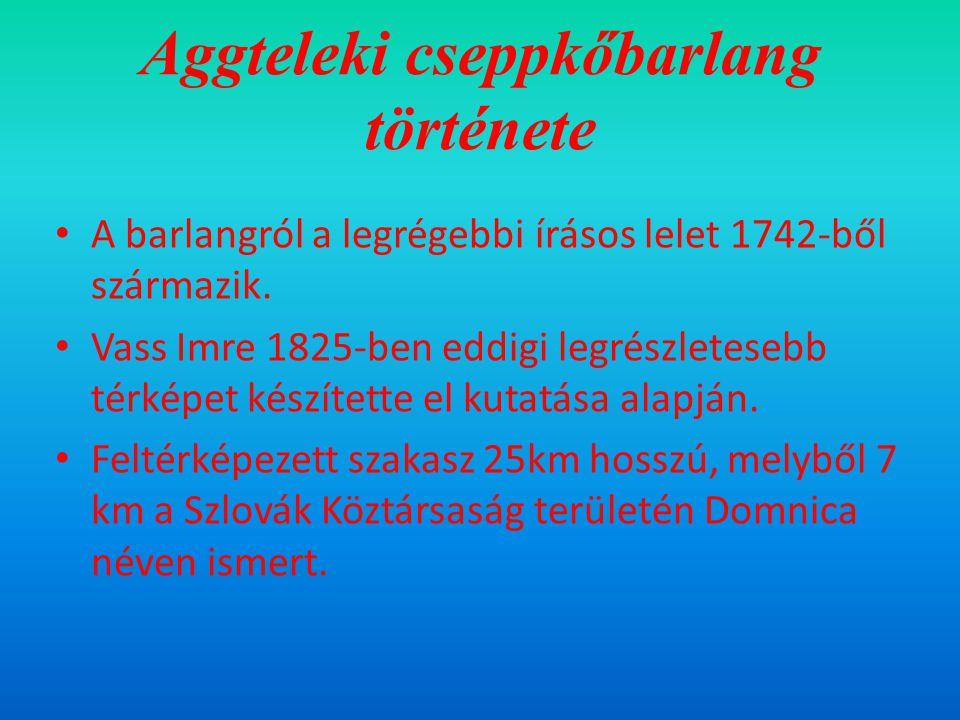 Aggteleki cseppkőbarlang története A barlangról a legrégebbi írásos lelet 1742-ből származik.