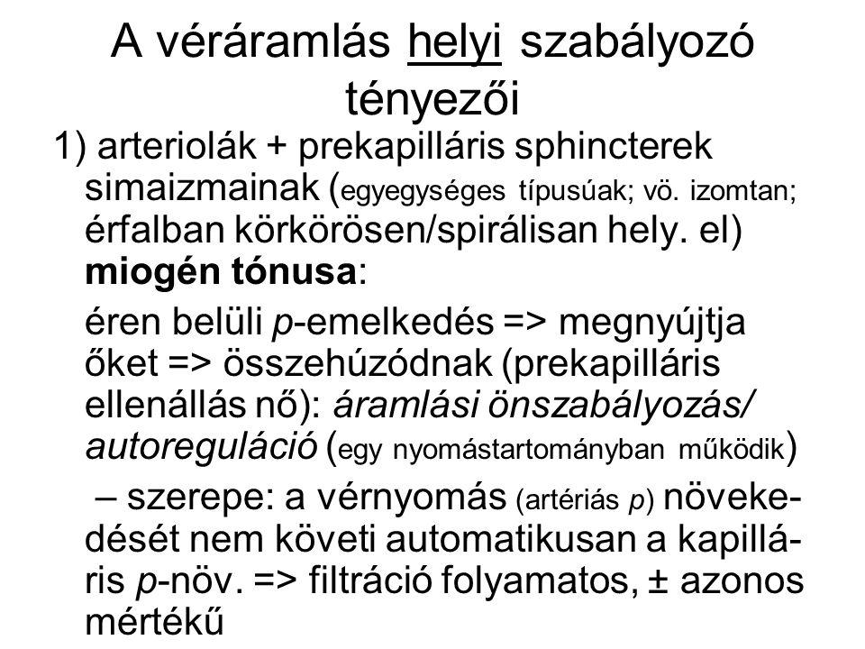 A véráramlás helyi szabályozó tényezői 1) arteriolák + prekapilláris sphincterek simaizmainak ( egyegységes típusúak; vö. izomtan; érfalban körkörösen