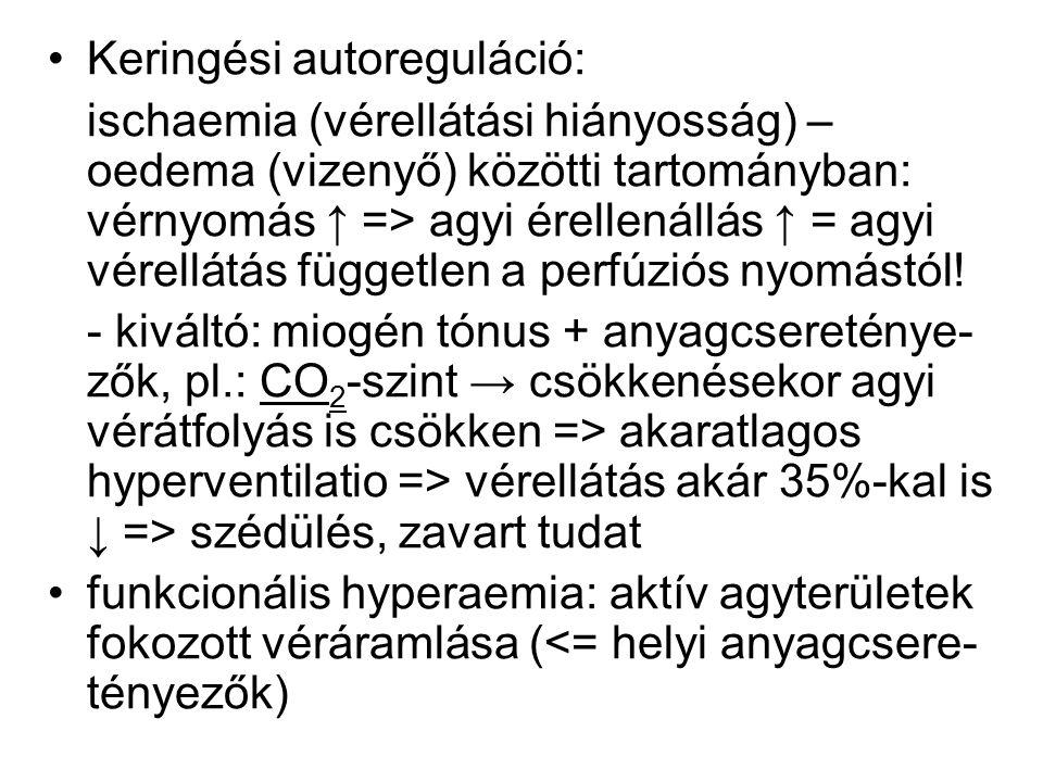 Keringési autoreguláció: ischaemia (vérellátási hiányosság) – oedema (vizenyő) közötti tartományban: vérnyomás ↑ => agyi érellenállás ↑ = agyi vérellá