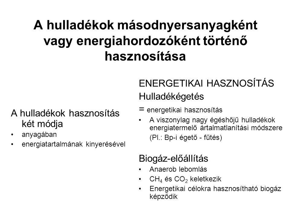 A hulladékok másodnyersanyagként vagy energiahordozóként történő hasznosítása A hulladékok hasznosítás két módja anyagában energiatartalmának kinyerésével ENERGETIKAI HASZNOSÍTÁS Hulladékégetés = energetikai hasznosítás A viszonylag nagy égéshőjű hulladékok energiatermelő ártalmatlanítási módszere (Pl.: Bp-i égető - fűtés) Biogáz-előállítás Anaerob lebomlás CH 4 és CO 2 keletkezik Energetikai célokra hasznosítható biogáz képződik