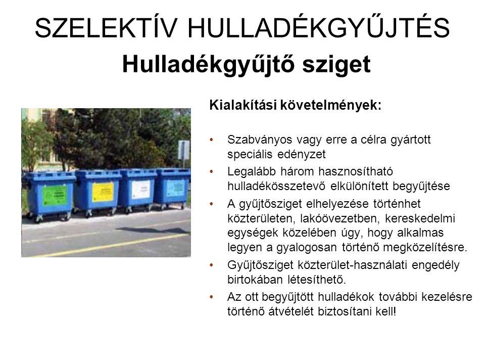SZELEKTÍV HULLADÉKGYŰJTÉS Hulladékudvar Hulladékgyűjtő udvar az elkülönítetten (szelektíven) gyűjtött települési szilárd hulladék, valamint a külön jogszabály szerinti veszélyes hulladék átvételére a begyűjtött hulladék rendszeres elszállításig történő szelektív tárolására, és további kezelésre történő átadására.