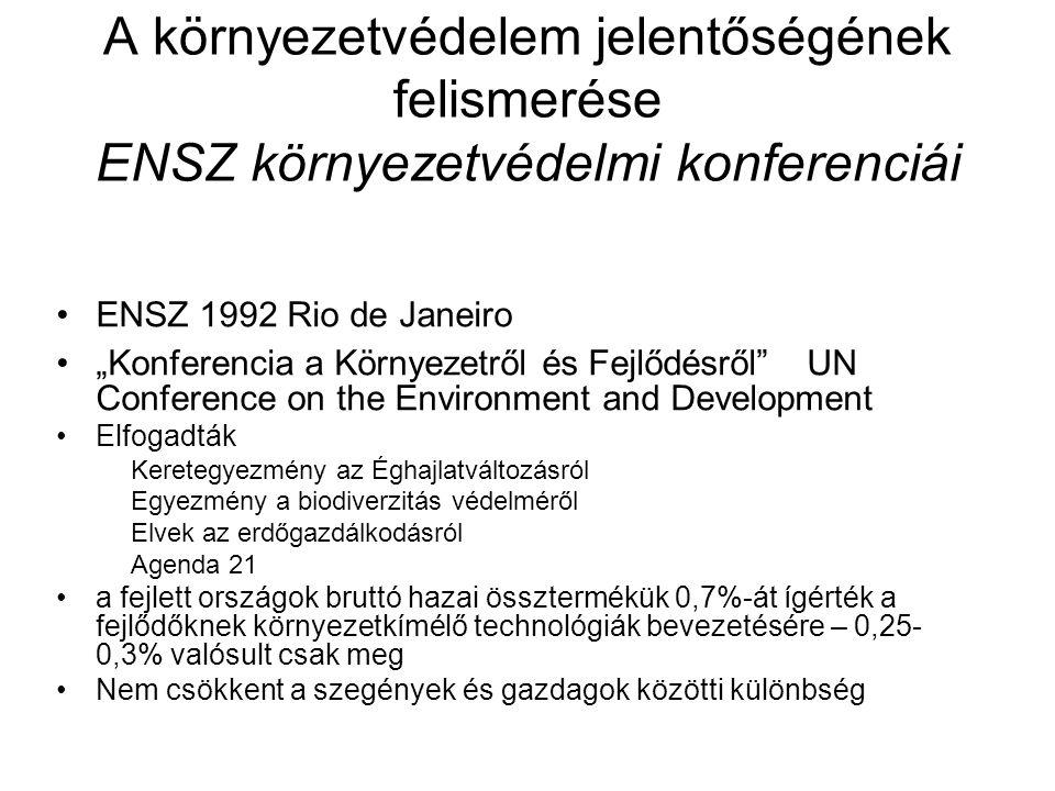 A környezetvédelem jelentőségének felismerése ENSZ környezetvédelmi konferenciái Az EU a környezetvédelemben élenjárva meghirdette 1992-ben az 5.