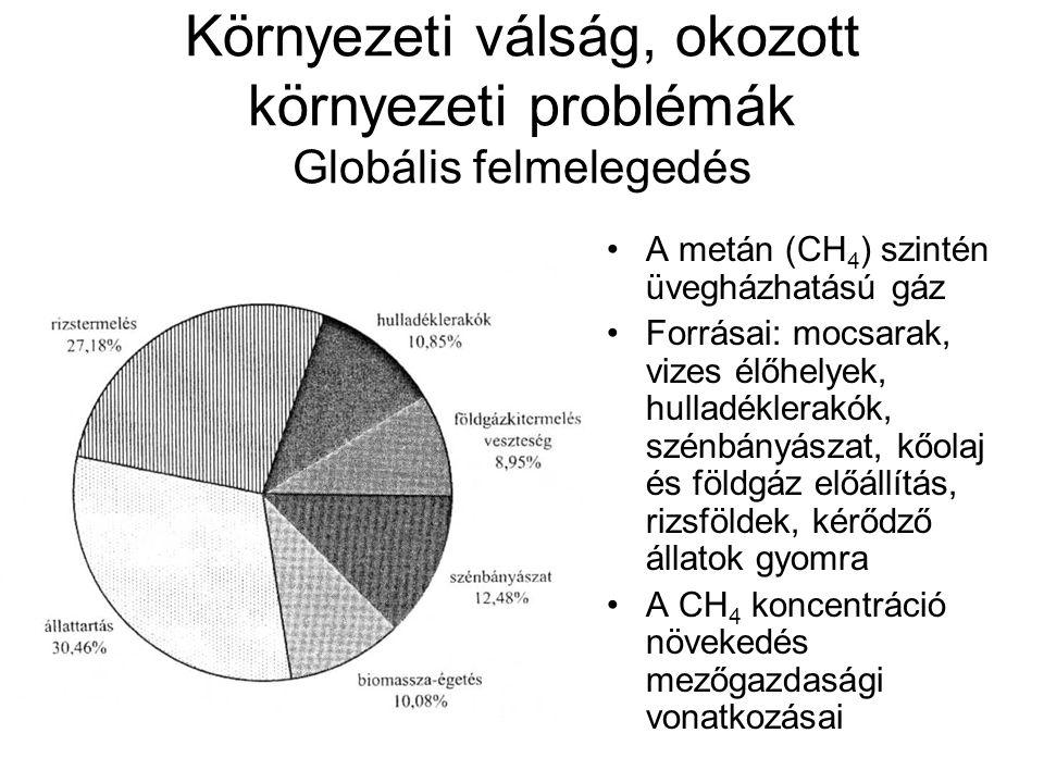 Környezeti válság, okozott környezeti problémák Globális felmelegedés A metán (CH 4 ) szintén üvegházhatású gáz Forrásai: mocsarak, vizes élőhelyek, h