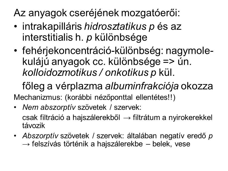 Az anyagok cseréjének mozgatóerői: intrakapilláris hidrosztatikus p és az interstitialis h. p különbsége fehérjekoncentráció-különbség: nagymole- kulá