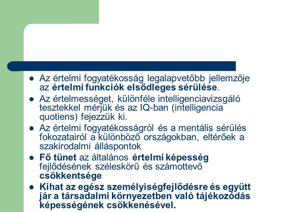 Az értelmi fogyatékosság legalapvetőbb jellemzője az értelmi funkciók elsődleges sérülése. Az értelmességet, különféle intelligenciavizsgáló tesztekke