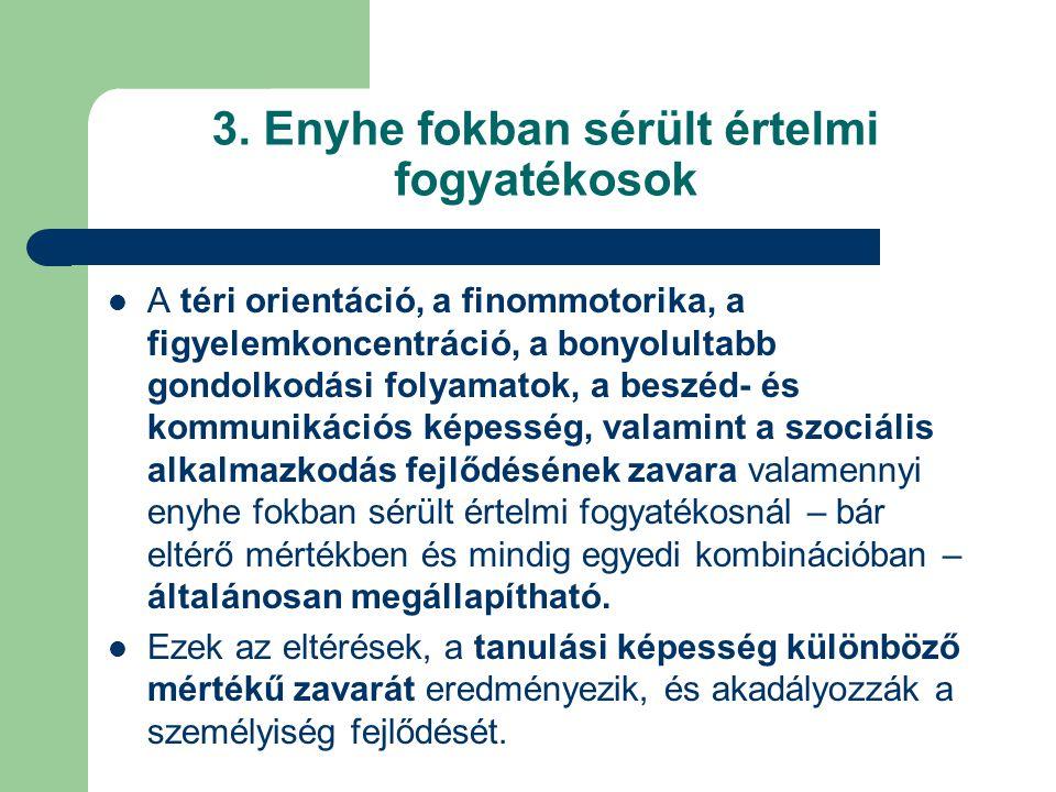 3. Enyhe fokban sérült értelmi fogyatékosok A téri orientáció, a finommotorika, a figyelemkoncentráció, a bonyolultabb gondolkodási folyamatok, a besz