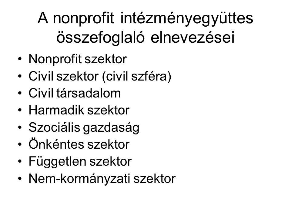 A nonprofit szervezetek különböző elnevezései Nonprofit szervezet Civil szervezet Önkéntes (öntevékeny szervezet) Önszerveződés NGO (non-governmental organization) nem kormányzati szervezet