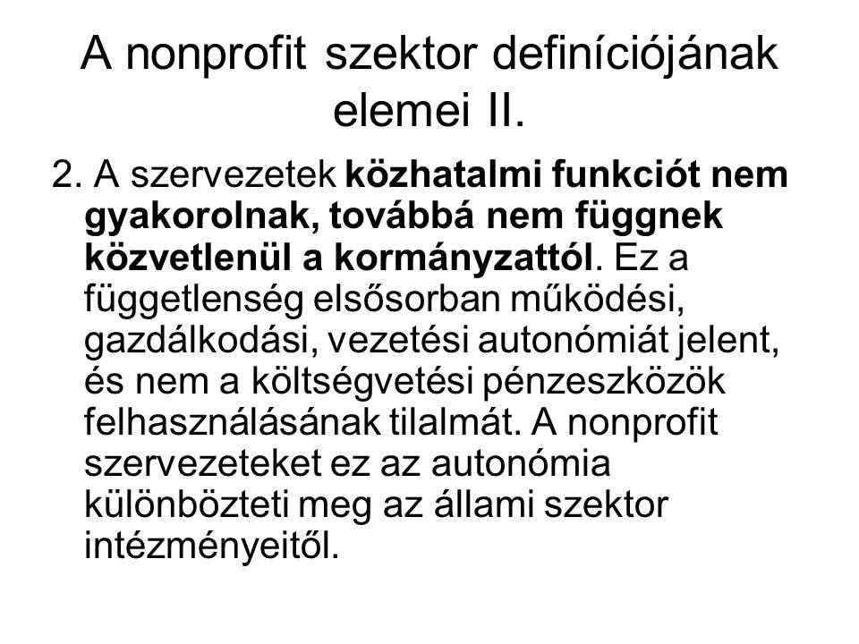 A nonprofit szektor definíciójának elemei II. 2.