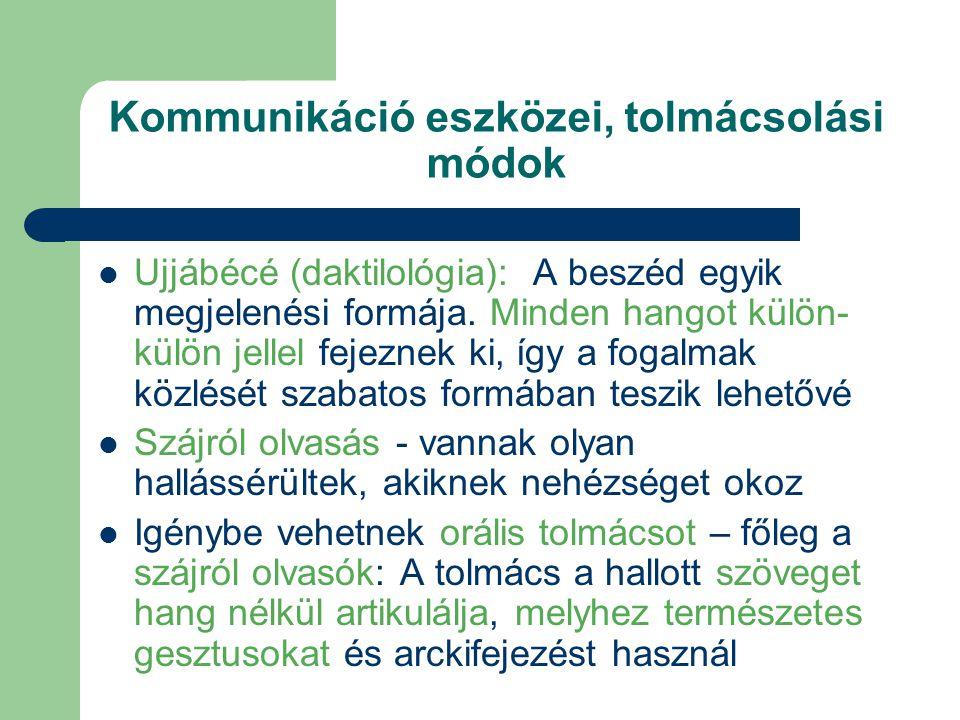 Kommunikáció eszközei, tolmácsolási módok Ujjábécé (daktilológia): A beszéd egyik megjelenési formája. Minden hangot külön- külön jellel fejeznek ki,